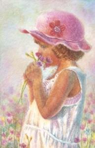 Flower girl, watercolor, 3x2 inch