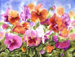 Colourful Pansies blowing in the wind with leaves,Realistic Flower Watercolor Painting