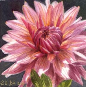 Small Dahlia Flower Watercolor Painting