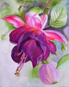 Floral Painting with light background, pink purple violet Fushia in Watercolor