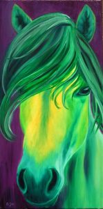Green Horse Oil Painting