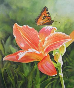 Orange Day Lily with Butterfly, large Flower Watercolor Painting on Canvas