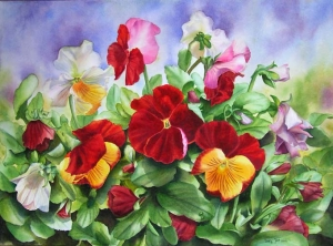 Flower Painting of red pansies with buds and leaves