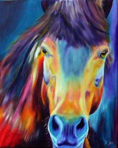 Portrait of a beautiful Horse with glowing colours, colourful Oil Painting of Horses
