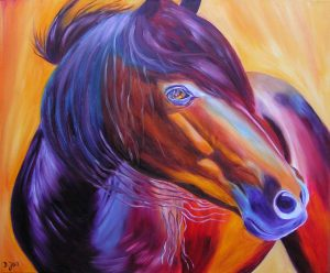 Horse Painting in Oil with stunning colours