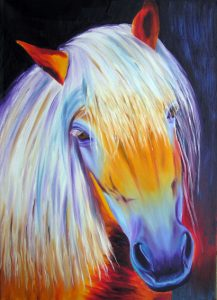 Gentle Horse Oil Painting in beautiful stunning colours