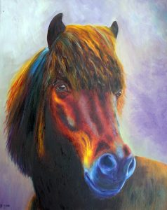 Horse with true eyes, colourful horse painting in oil