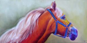Stunning colourful Horse Oil Painting