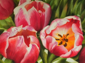 Glowing Pink Red Tulips close up in watercolor flower painting