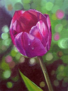 Floral painting - Single Purple Tulip painted realistic in Oil