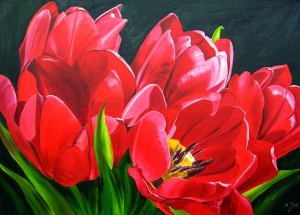 Stunning red Tulips painted in oil Flower Painting