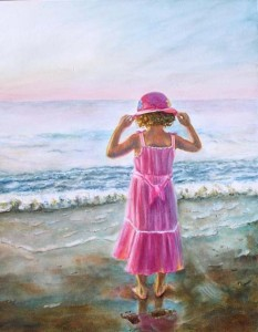 At the beach – New watercolor figurative painting
