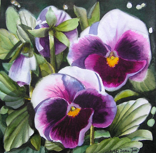 Violet pink pansies in watercolor pansy painting flower painting violet pansies mightylinksfo Choice Image