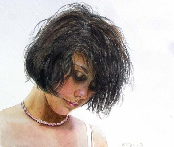 Portrait Girl With Black Hairwhite Backgroundbeautiful Skin