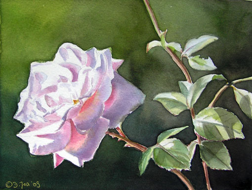 Rose New Dawn - Watercolor Flower Painting by Doris Joa