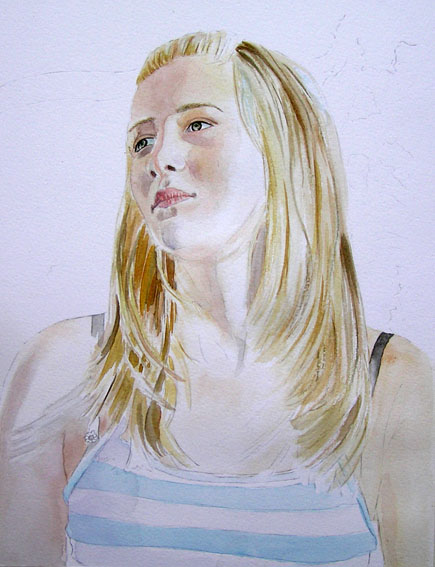 Girl in watercolor, work in progress