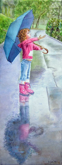 Girl in Rain with umbrella - watercolor painting