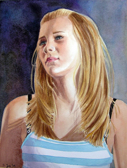 Blonde hair girl portrait painting watercolor - The difficult age of being a