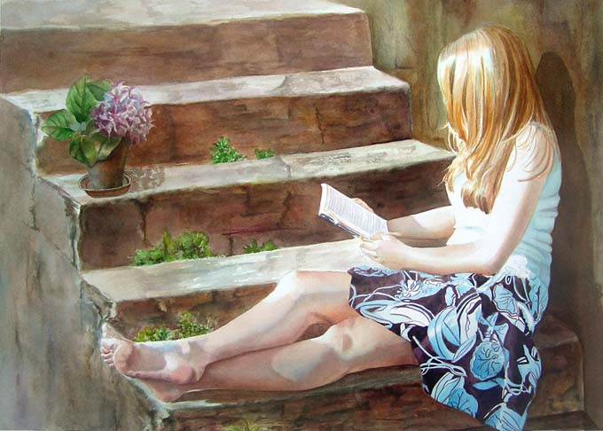 Romance Novel - figurative watercolor painting - young girl sitting on stairs and is reading