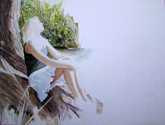 young girl sitting at the river - watercolor - work in progress
