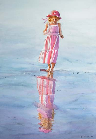 Reflections of a young girl in pink dress with pink hat wandering at the beach – figurative painting in watercolor