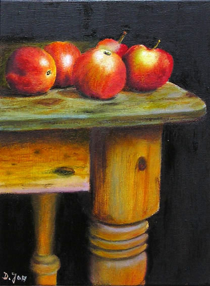 Oil Painting Of Red Apples On Wood Table Still Lifes In