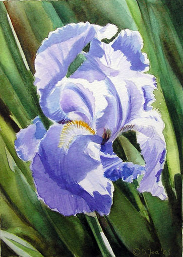 Blue iris with green leaves watercolor painting of flowers