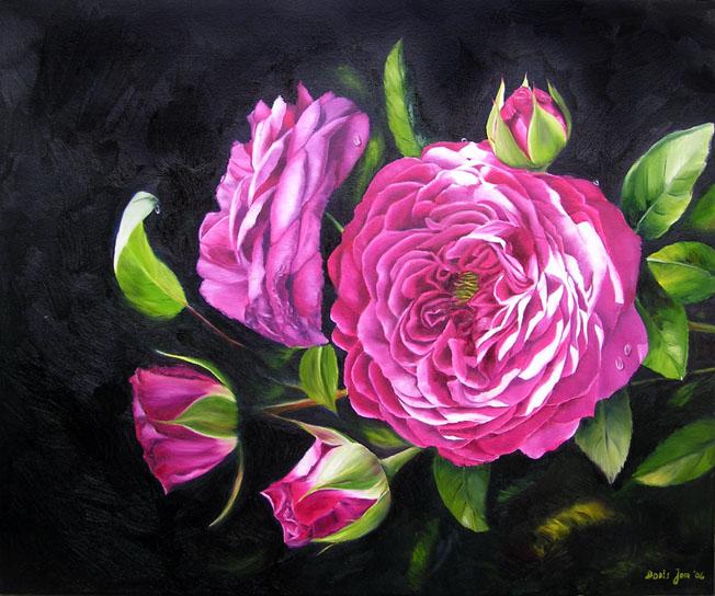 romantic rose painting in oil heidi klum rose realistic. Black Bedroom Furniture Sets. Home Design Ideas
