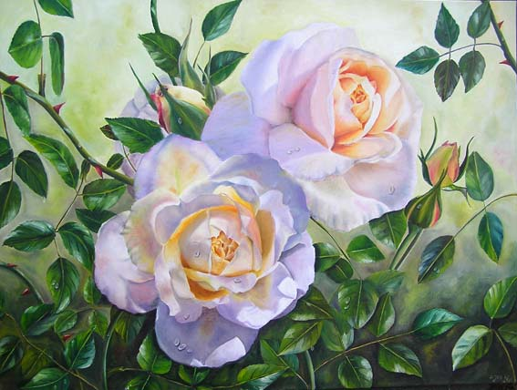 realistic rose painting lions rose in oil romantic garden oil painting by artist doris joa. Black Bedroom Furniture Sets. Home Design Ideas
