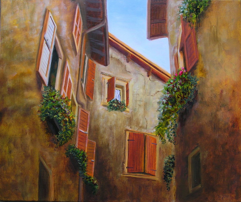 House portrait Painting, Oil Painting of old Houses in ...