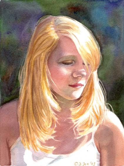 girl portrait painting, blonde hair in full sunlight - original watercolor painting by Doris Joa