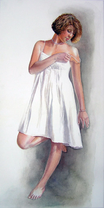 Figurative woman girl painting - girl with brown hair in white dress leaning against a wall
