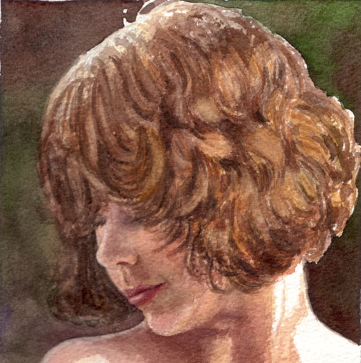girl with brown curls - watercolor painting - fine art