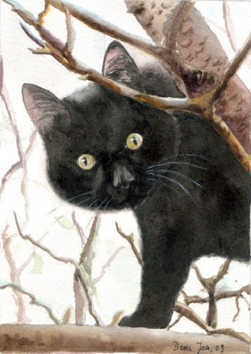 Black cat curious sitting in a tree - watercolor painting