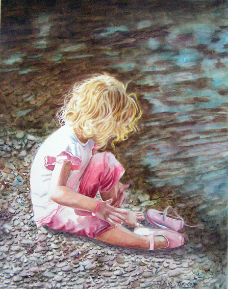 Young girl with blonde hairs sitting at the water with wet feet - watercolor painting