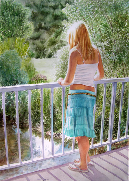young blonde woman/girl standing on a bridge enjoying her moment in the sun, looking over the river and a beautiful green landscape - original figurative painting by Doris Joa in watercolor
