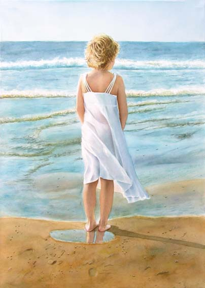 Young girl standing at the beach overlooking the ocean - Watercolor figurative painting