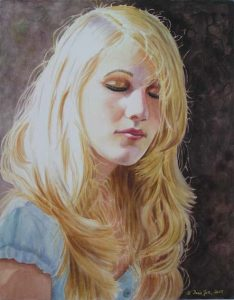 Beautiful blonde girl with blue shirt in watercolor painted in realism on Aquabord in watercolor