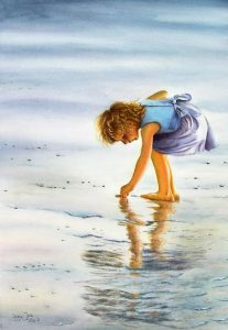 Little girl collects things at the beach in blue dress, glowing sunshine, figurative watercolor painting