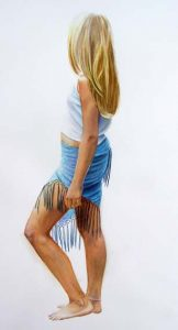 Portrait Painting of a young girl with blue skirt and white shirt and blonde hair, fantastic realism figure painting in watercolor