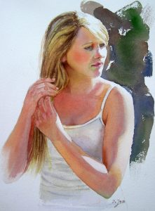 Portrait Painting of a teenager with blonde hair and white shirt - portrait painting in watercolor realistic