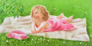 little girl enjoying sleeping in a lazy afternoon, laying on a white blanket in the grass, pink dress pink hat, figurative painting in watercolor