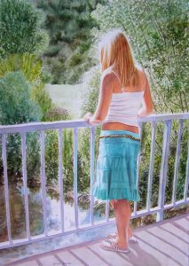 Beautiful blonde girl with white shirt and turquoise skirt enjoying a moment in the sun standing on a bridge looking down to the water, figurative realistic painting in watercolor