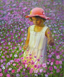 Stunning Oil Painting of a little girl picking flowers in a flower field, white dress and pink hat, girl helds flowers in her hand, figurative oil painting in romantic realism