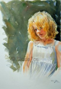 Little innocent girl portrait painting in watercolor, blonde hair, simple painted background
