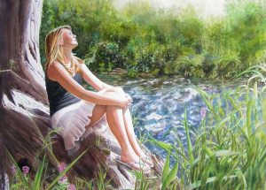Girl with white skirt and black shirt sitting on a tree at the river and listening to the river, watercolor figurative paintng