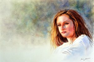 Portrait Painting of a girl with brown hair and white shirt, realistic portrait painting in watercolor