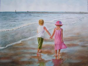 Little boy and little girl walking hand in hand by the ocean - watercolor figurative painting