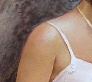 Sneek peek on a figurative painting in watercolor by Doris Joa