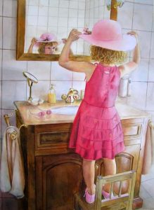 Little girl in red dress with hat standing on a chair in front of a mirror in bathroom - Girl Figurative Painting in Watercolor